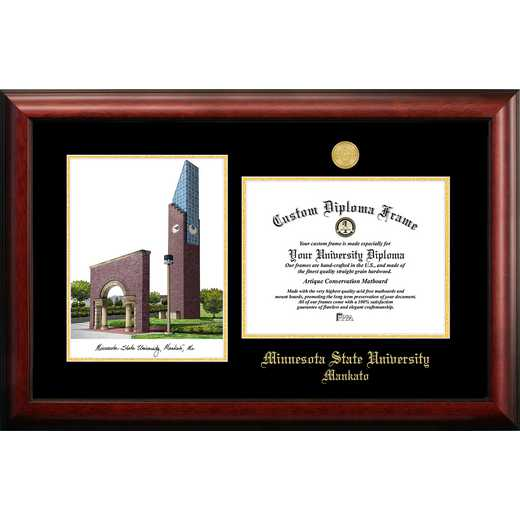 MN997LGED-1185: Minnesota State University, Mankato 11w x 8.5h Gold Embossed Diploma Frame with Campus Images Lithograph