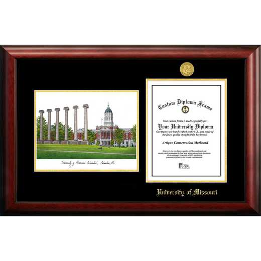MO999LGED-8511: University of Missouri 8.5w x 11h Gold Embossed Diploma Frame with Campus Images Lithograph