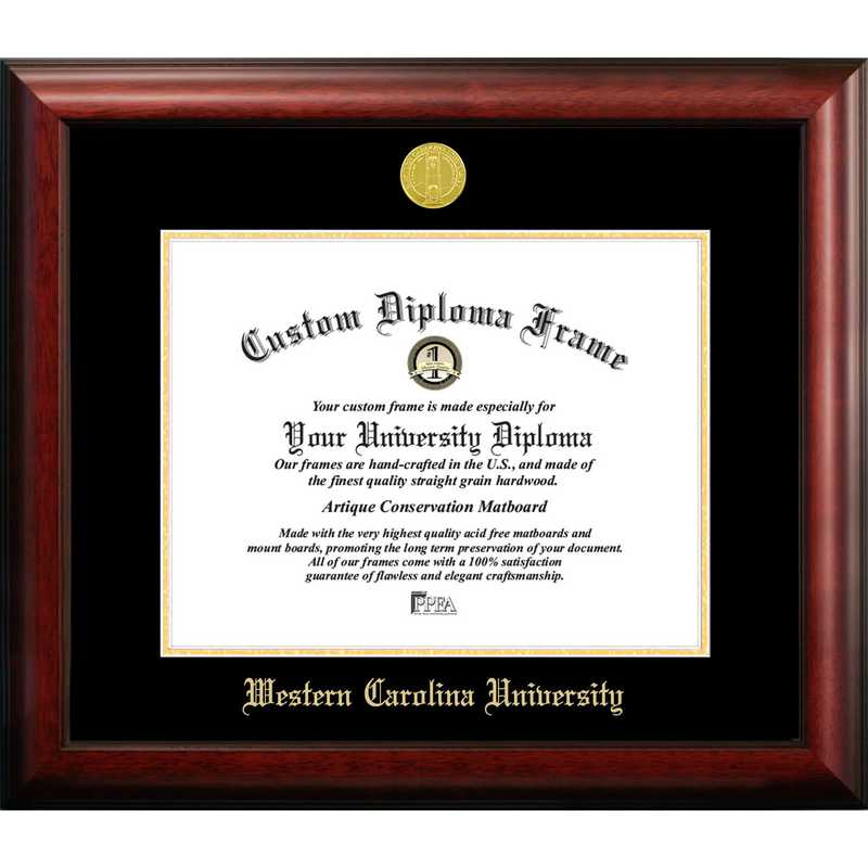 NC994GED-1411: Western Carolina University 14w x 11h Gold Embossed Diploma Frame