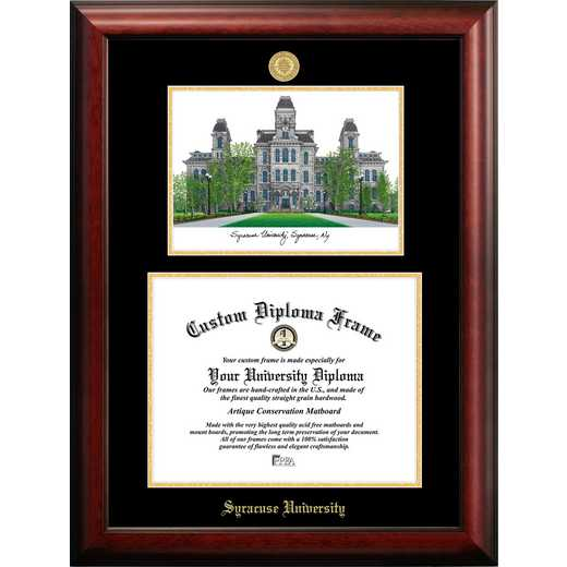 NY999LGED-1411: Syracuse University 14w x 11h Gold Embossed Diploma Frame with Campus Images Lithograph