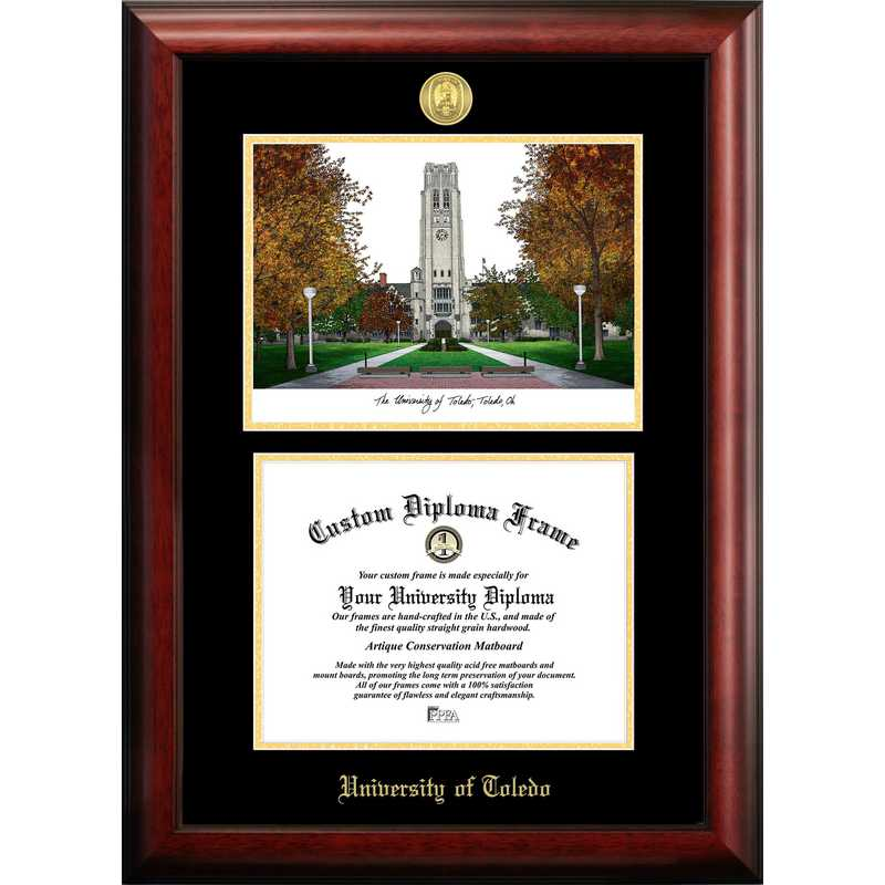 OH985LGED-108: University of Toledo 10w x 8h Gold Embossed Diploma Frame with Campus Images Lithograph