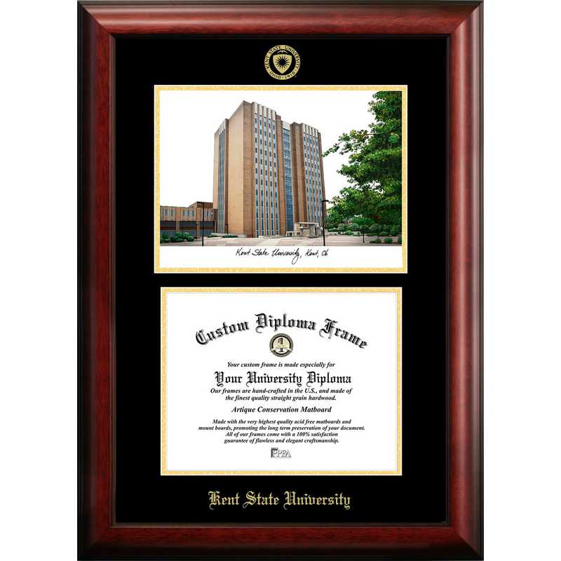 OH989LGED-1185: Kent State University 11w x 8.5h Gold Embossed Diploma Frame with Campus Images Lithograph