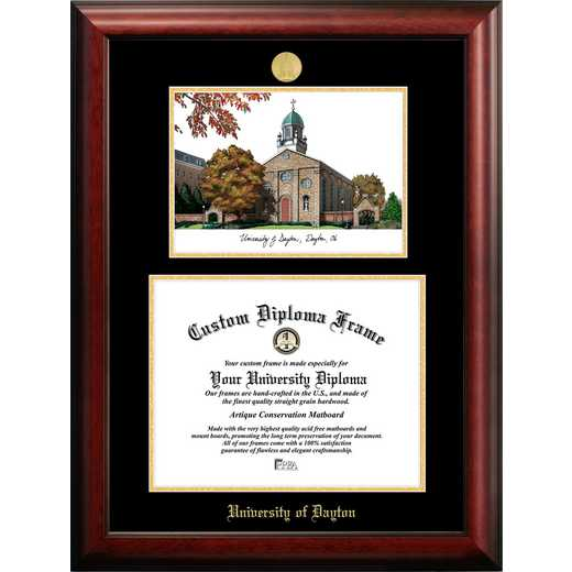OH994LGED-1411: University of Dayton 14w x 11h Gold Embossed Diploma Frame with Campus Images Lithograph