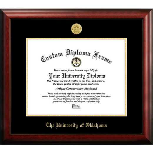 OK998GED-1714: University of Oklahoma 17w x 14h Gold Embossed Diploma Frame