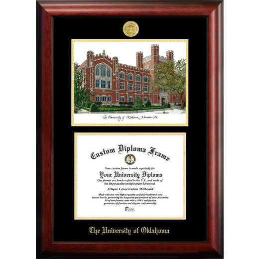 OK998LGED-1185: University of Oklahoma 11w x 8.5h Gold Embossed Diploma Frame with Campus Images Lithograph