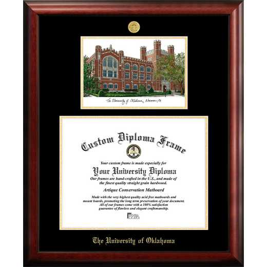 OK998LGED-1714: University of Oklahoma 17w x 14h Gold Embossed Diploma Frame with Campus Images Lithograph