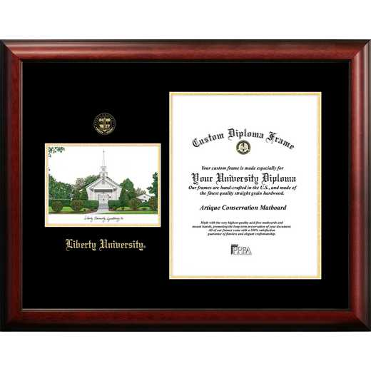 VA989LGED-1417: Liberty University 14w x 17h Gold Embossed Diploma Frame with Campus Images Lithograph