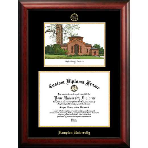 VA990LGED-1411: Hampton University 14w x 11h Gold Embossed Diploma Frame with Campus Images Lithograph