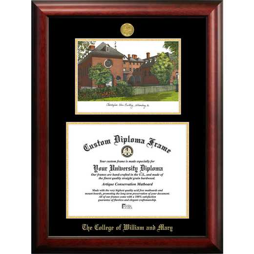 VA991LGED-1310: College of William and Mary 13w x 10h Gold Embossed Diploma Frame with Campus Images Lithograph