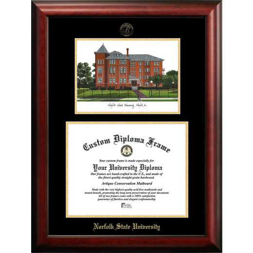 VA992LGED-1411: Norfolk State 14w x 11h Gold Embossed Diploma Frame with Campus Images Lithograph