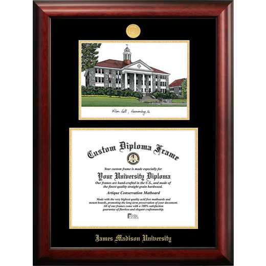 VA994LGED-1612: James Madison University 16w x 12h Gold Embossed Diploma Frame with Campus Image