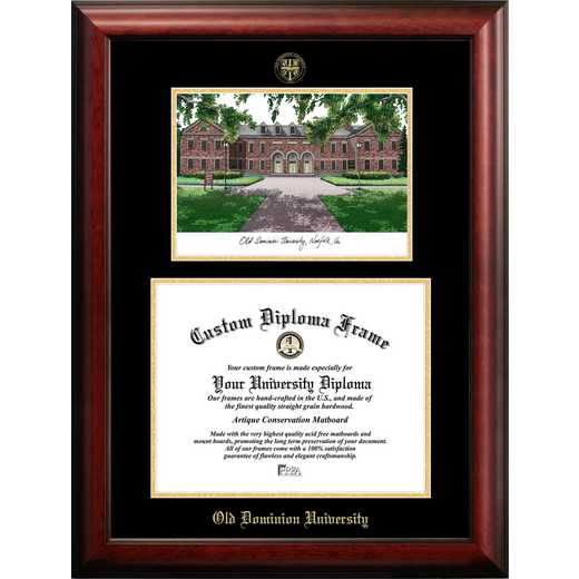 VA998LGED-1411: Old Dominion 14w x 11h Gold Embossed Diploma Frame with Campus Images Lithograph