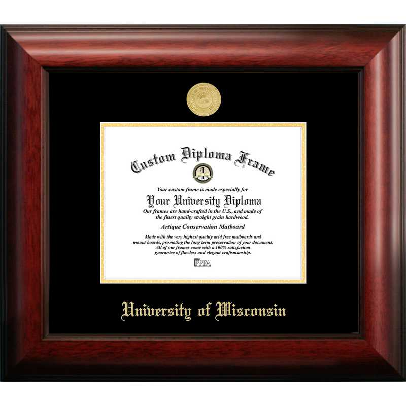 WI995GED-86: University of Wisconsin - Madison 8w x 6h Gold Embossed Diploma Frame