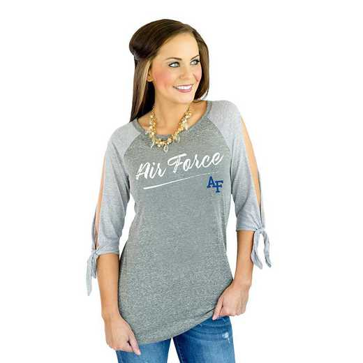 "Air Force Falcons ""Fourth Down"" Raglan Tie Sleeve Top by Gameday Couture"