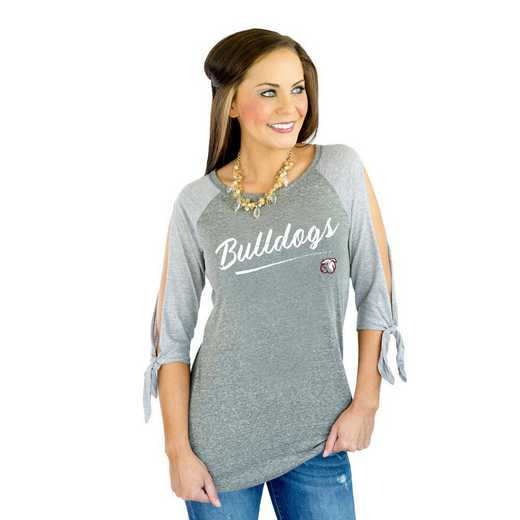 "Mississippi State Bulldogs ""Fourth Down"" Raglan Tie Sleeve Top by Gameday Couture"
