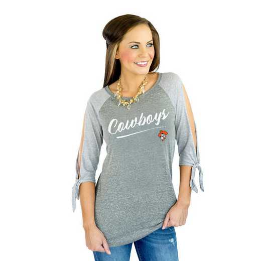 "Oklahoma State Cowboys ""Fourth Down"" Raglan Tie Sleeve Top by Gameday Couture"