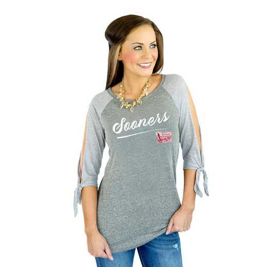 "Oklahoma Sooners ""Fourth Down"" Raglan Tie Sleeve Top by Gameday Couture"
