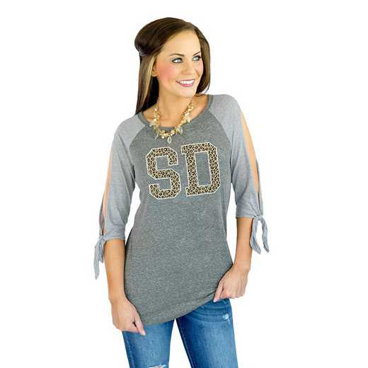 "South Dakota ""Playing for Keeps"" Leopard Raglan Tee By Gameday Couture"