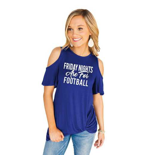 "The ""Catch the Spirit"" Friday Night Cold Shoulder Top Blue By Gameday Couture"
