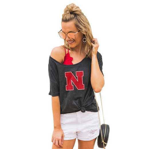 "Nebraska Cornhuskers ""Vibing with you"" Boyfriend Tee by Gameday Couture"