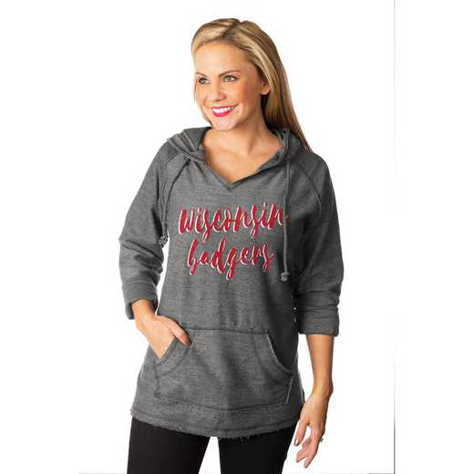 "Wisconsin Badgers""Keeping Cozy"" French Terry Hooded Pullover  By Gameday Couture"