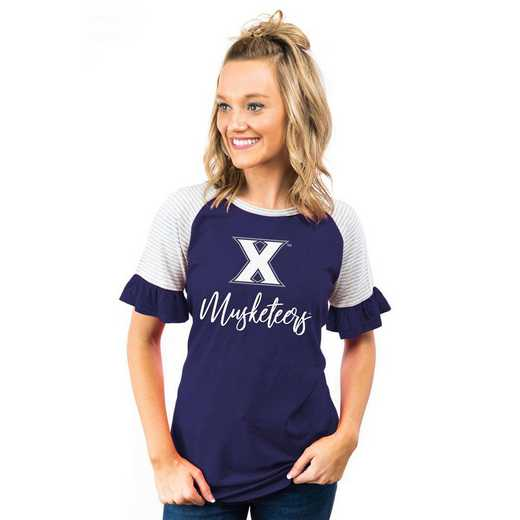 Xavier University Muskateers Down The Line Ruffle Sleeve Top by Gameday Couture