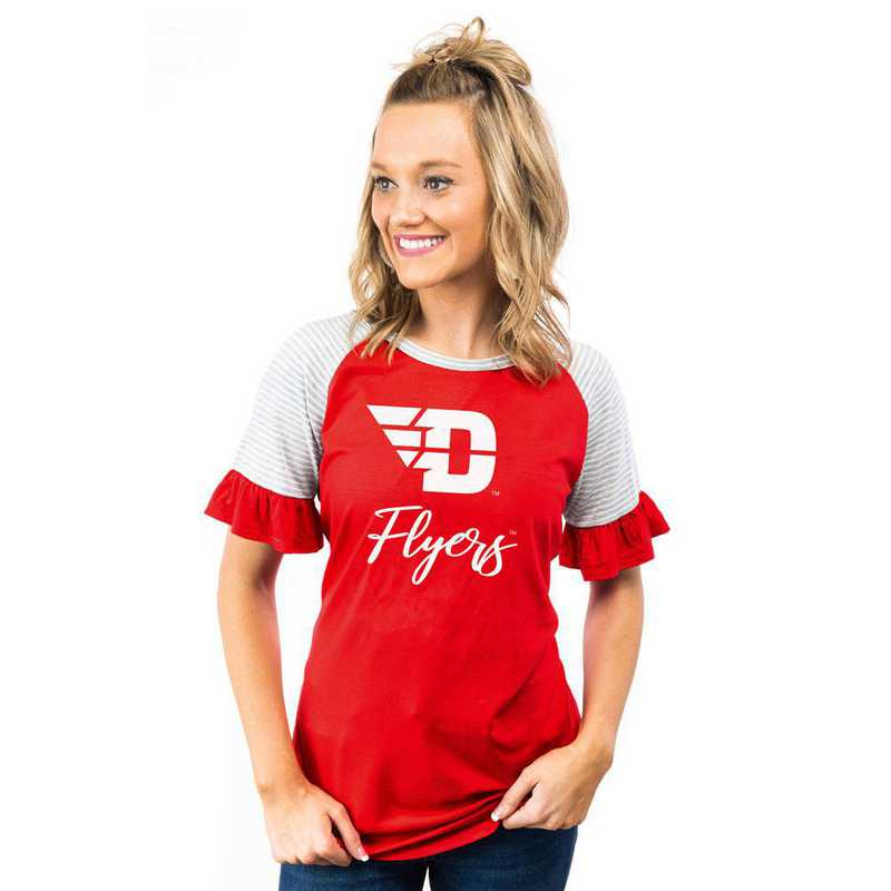 Dayton Flyers Down The Line Ruffle Sleeve Top by Gameday Couture