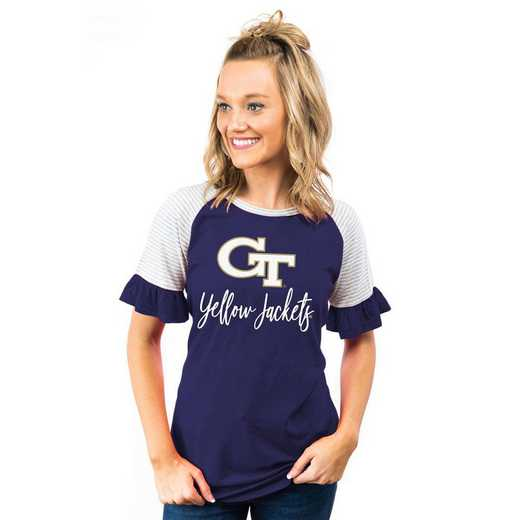 Georgia Tech Yellow Jackets Down The Line Ruffle Sleeve Top by Gameday Couture