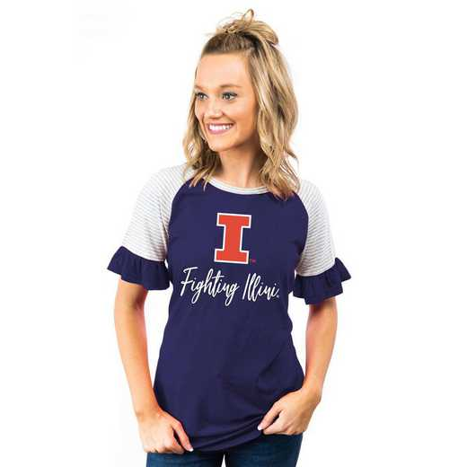 Illinois Fighting Illini Down The Line Ruffle Sleeve Top by Gameday Couture