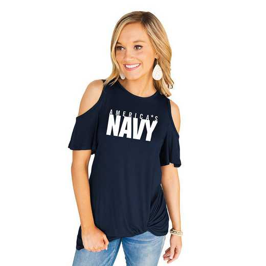 Navy Midshipmen Get Twisted Cold Shoulder Twist Top by Gameday Couture