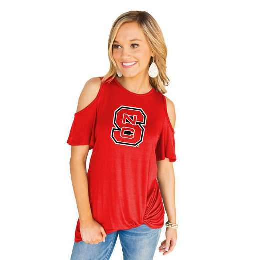 Nc State Wolfpack Get Twisted Cold Shoulder Twist Top by Gameday Couture