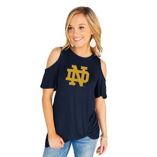 Notre Dame Fighting Irish Get Twisted Cold Shoulder Twist Top by Gameday Couture
