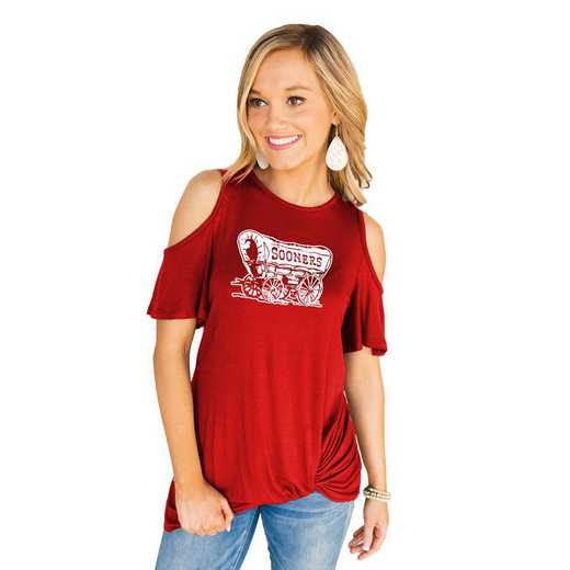 Oklahoma Sooners Get Twisted Cold Shoulder Twist Top by Gameday Couture