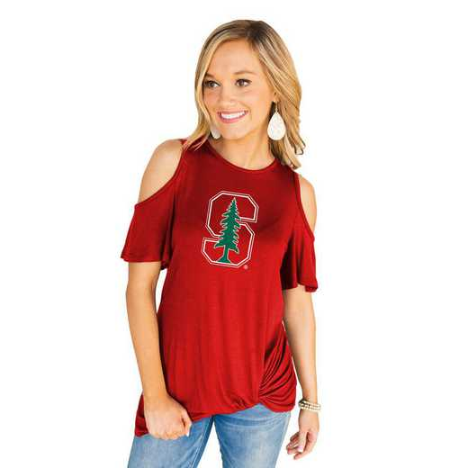 Stanford Cardinal Get Twisted Cold Shoulder Twist Top by Gameday Couture