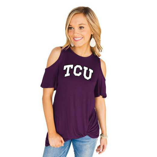 Texas Christian University Horned Frogs Get Twisted Cold Shoulder Twist Top by Gameday Couture