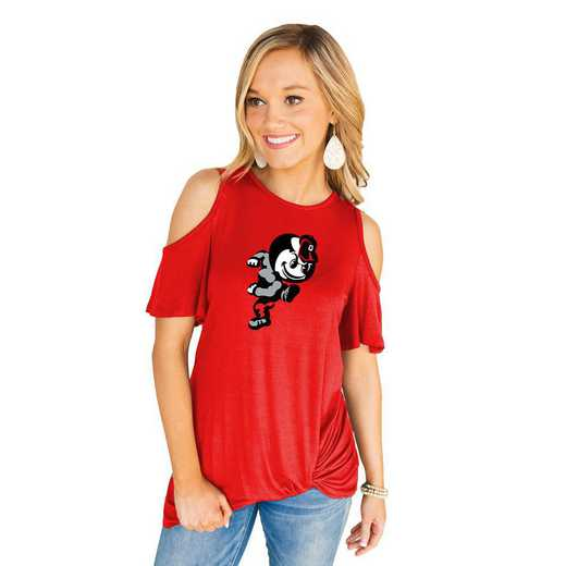 Ohio State University Buckeyes Get Twisted Cold Shoulder Twist Top by Gameday Couture