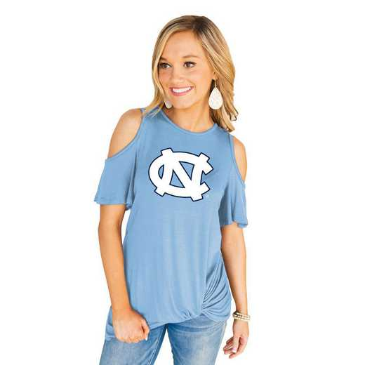 Unc Tar Heels Get Twisted Cold Shoulder Twist Top by Gameday Couture