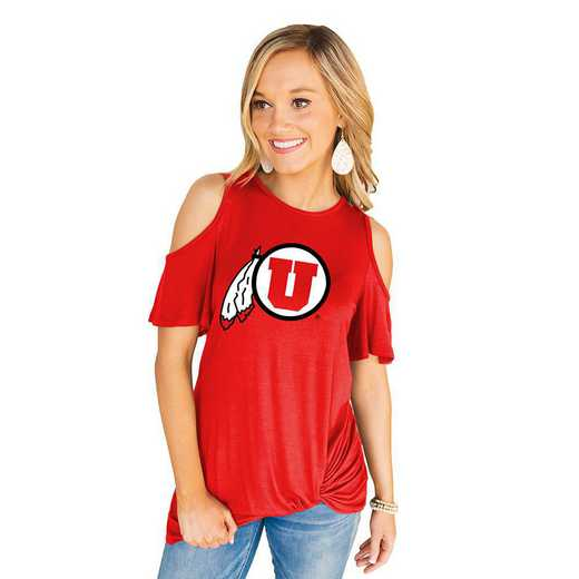 Utah Utes Get Twisted Cold Shoulder Twist Top by Gameday Couture