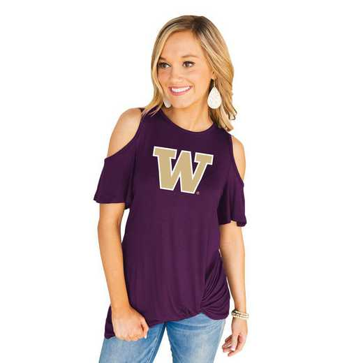 Washington Huskies Get Twisted Cold Shoulder Twist Top by Gameday Couture