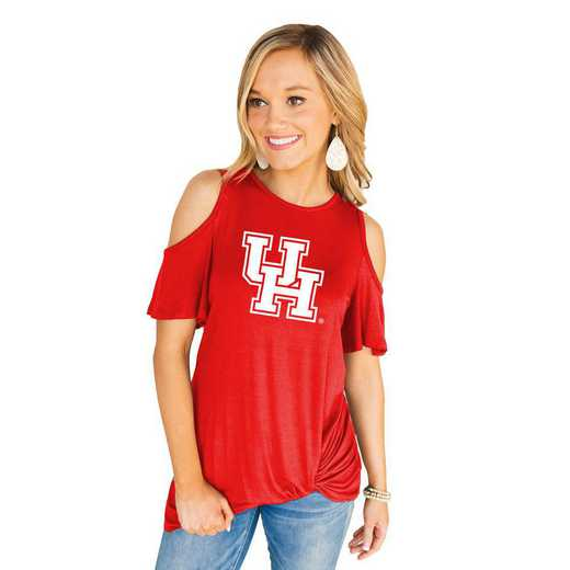 Houston Cougars Get Twisted Cold Shoulder Twist Top by Gameday Couture
