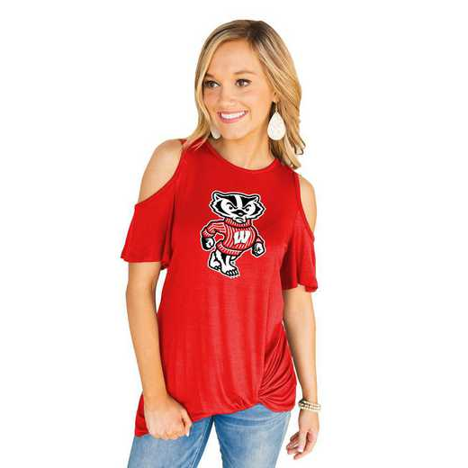 Wisconsin Badgers Get Twisted Cold Shoulder Twist Top by Gameday Couture
