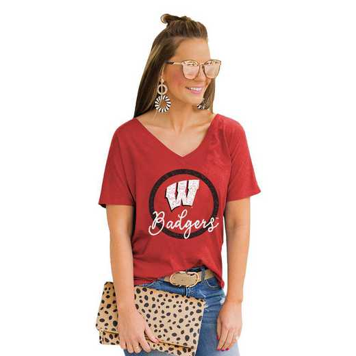 Wisconsin Badgers Long Live Weekend Vibes V-Neck Tee by Gameday Couture