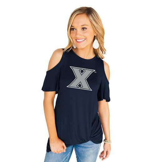 Xavier University Muskateers Get Twisted Cold Shoulder Twist Top by Gameday Couture