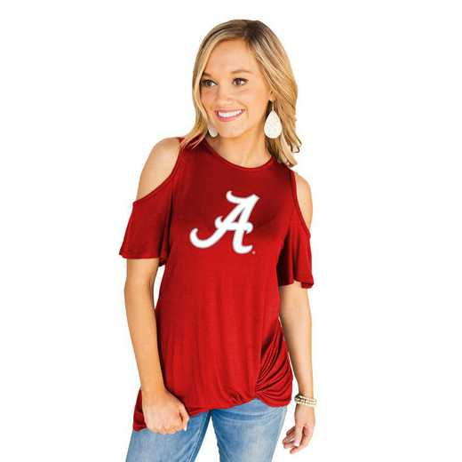 Alabama Crimson Tide Get Twisted Cold Shoulder Twist Top by Gameday Couture