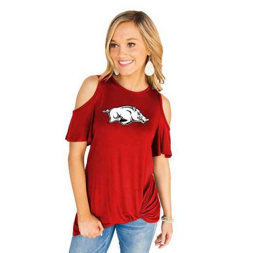 Arkansas Razorbacks Get Twisted Cold Shoulder Twist Top by Gameday Couture