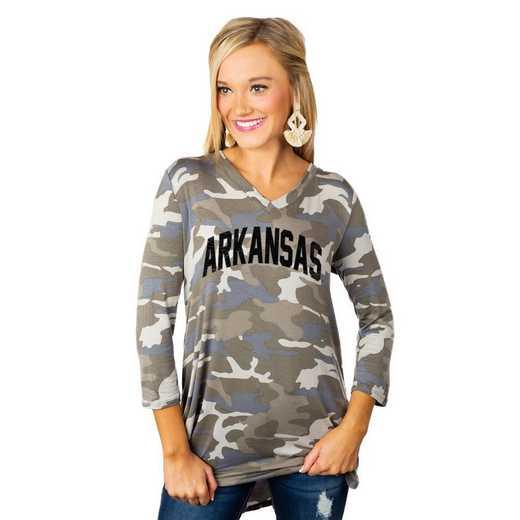 """Arkansas Razorbacks """"Hidden Treasures"""" Camo Tunic By Gameday Couture"""