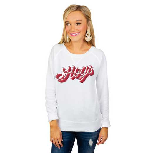 """Arkansas Razorbacks """"Casually Cute"""" French Terry Pullover By Gameday Couture"""