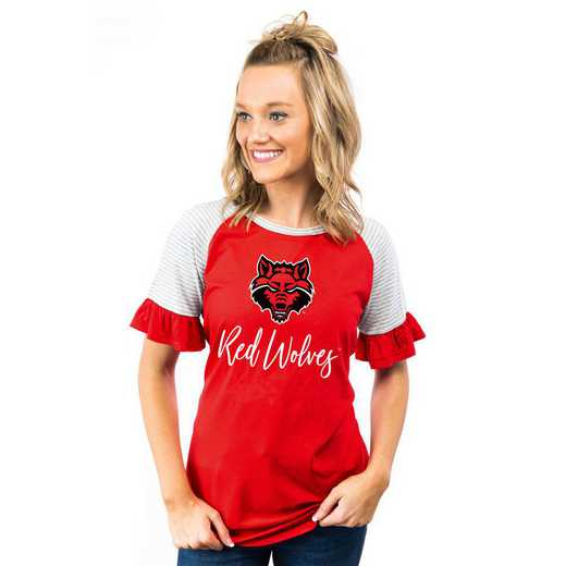 Arkansas State Red Wolves Down The Line Ruffle Sleeve Top by Gameday Couture