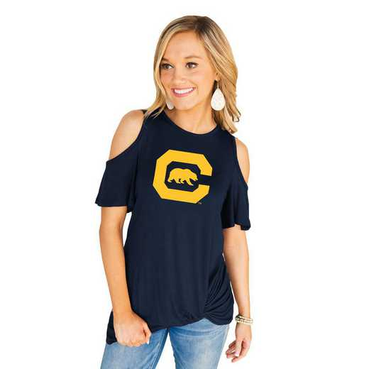 California Golden Bears Get Twisted Cold Shoulder Twist Top by Gameday Couture