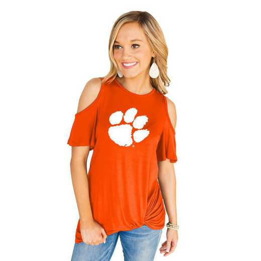 Clemson Tigers Get Twisted Cold Shoulder Twist Top by Gameday Couture